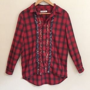 Free People Artisan de Luxe flannel shirt frayed M